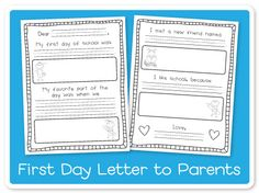 Back-2-School Letter to Parents! This letter is a great way to spark conversation between parents and students about the first day of school.