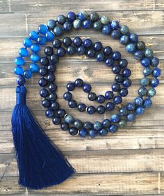 Oh man I love this mala. Not only is it gorgeous, but lapis represents the pursuit of wisdom & truth, and promotes self reflection. $90