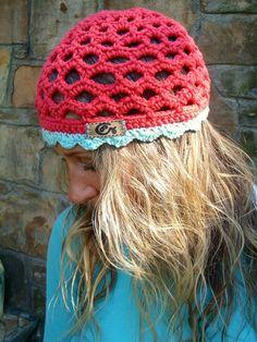 strawberry BEANIE hat HIPPY crochet beanie bohemian hat cotton beanie hat GYPSY hat summer urban chic. $36.00, via Etsy.