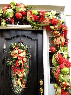 Door Garland using 2 mesh colors plus 30 yards of 3 different ribbons