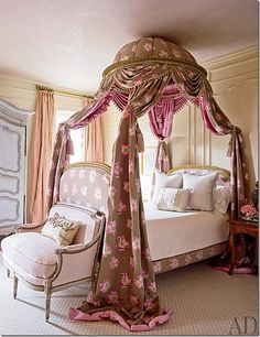 Daughter's room.    Remember the room with the blue and white lit a la polonaise bed? Here's another one!   I love this one – it's so authentic looking – just perfection.  Love the blush mixed with the blues.