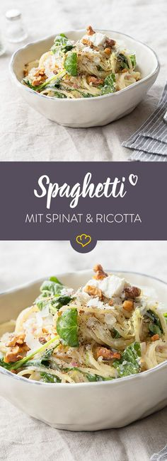 with roasted walnuts, spinach and ricotta clearly fall into the . Spaghetti with roasted walnuts, spinach and ricotta clearly fall into the .Spaghetti with roasted walnuts, spinach and ricotta clearly fall into the . Veggie Recipes, Vegetarian Recipes, Dinner Recipes, Healthy Recipes, Massa Com Ricotta, Feta, Spaghetti With Spinach, Baked Spaghetti, Ricotta Pasta