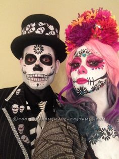 Amazing day of the dead couple costume – Halloween Costumes Family Halloween Costumes, Halloween Kostüm, Holidays Halloween, Homemade Costumes, Diy Costumes, Costume Ideas, Couple Costumes, Candy Skull Makeup, Halloween Parejas