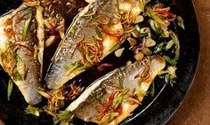 Yotam Ottolenghi's Taiwanese Quick sea bass with ginger and garlic