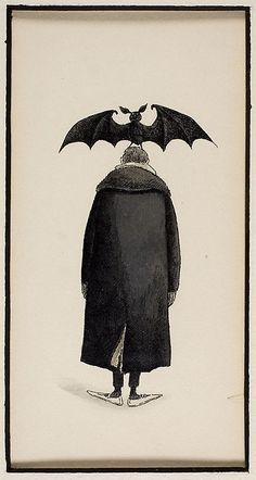 Edward Gorey American, Untitled (Man with a Bat on his Head), n. Edward Gorey, Creatures Of The Night, Arte Popular, Halloween Art, Homemade Halloween, Halloween Decorations, Art Institute Of Chicago, Art Photography, Levitation Photography