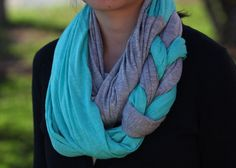 Jersey Braided Infinity Scarf in Gray and Green