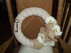 White chevron burlap wreath with key by OctoberCharm on Etsy, $30.00