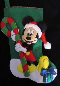 I hand cut and stitch my stockings with love and care. Each stocking takes over 35 hours to make and comes completely lined. All beads and sequins are also attached by hand. All products are made in a smoke free environment. Disney Christmas Stockings, Minnie Mouse Christmas, Noel Christmas, Vintage Christmas, Christmas Crafts, Outdoor Christmas Tree Decorations, Disney Activities, Applique Quilts, Felt Ornaments