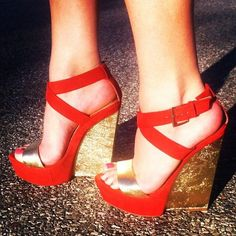 Beautiful, Charming Women's Red Open Toe Ankle Buckle Golden Wedge Heels Sandals you best choice for Formal event, Party -TOP Design by FSJ Studded Heels, Wedge Sandals, Sexy Sandals, Manolo Blahnik Heels, Flat Shoes, Shoes Heels, Pumps, Shoe Brands, Me Too Shoes