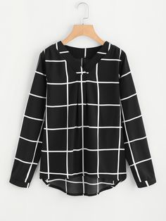 Shop V Neck Plaid Blouse online. SheIn offers V Neck Plaid Blouse & more to fit your fashionable needs. Teen Fashion Outfits, Mode Outfits, Hijab Fashion, Trendy Fashion, Trendy Style, Hijab Casual, Elegantes Outfit, Black And White Tops, Blouse Styles