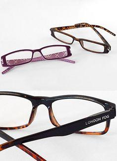 2c9fa957637 London Fog Designer Reading Glasses for Men   Women 2 PK Readers- 1.50  Strength (Tortoise  Purple)