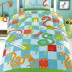 Snakes & Ladders single duvet cover. Childrens bedding perfect for toddlers or younger children. Kids single duvet cover is a great idea and really unique design for both boys & girls bedrooms.