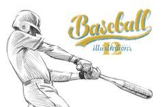 Sketchy baseball drawing set by RasterBird on Creative Market