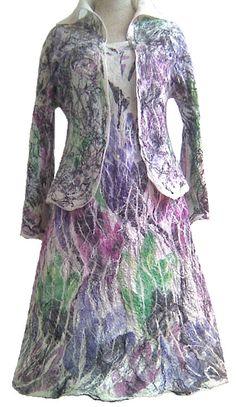 nuno felted silk dress and jacket LILIAN handmade art to wear, wool, silk, silk fibers, eco fashion by Kantorysinska, free shipping on Etsy, $370.00