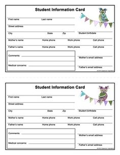 Student Information Card – FREEBIE – Coordinates with Book Smart Owls Classroom Theme!