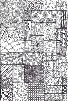 https://flic.kr/p/dfhV9c | zentangle sampler | I made this one specifically for my junior students, grades 1-3. Sourced from all over and including some made up be me and my students.