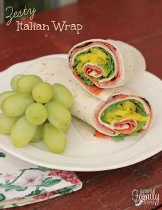 Zesty Italian Wrap- This Zesty Italian Wrap is great for making ahead and packing in a lunch box for school or work, or in a cooler for picnics or camping.
