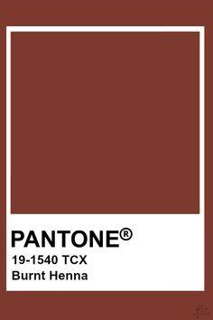 Pantone Burnt Henna Pantone Tcx, Pantone 2020, Pantone Colour Palettes, Pantone Color, Color Patterns, Color Schemes, Brown Pantone, Henna Color, Red Colour Palette