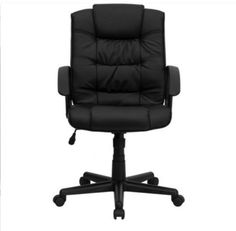 Contemporary Executive Chair Padded Seat And Back Office Furniture Black Leather