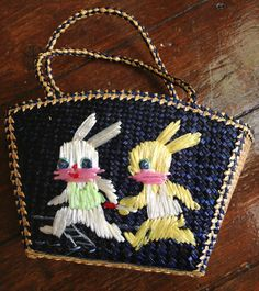 Five dollar shipping  Small Straw Natural Fiber Easter Bag by presleypigs, $20.00