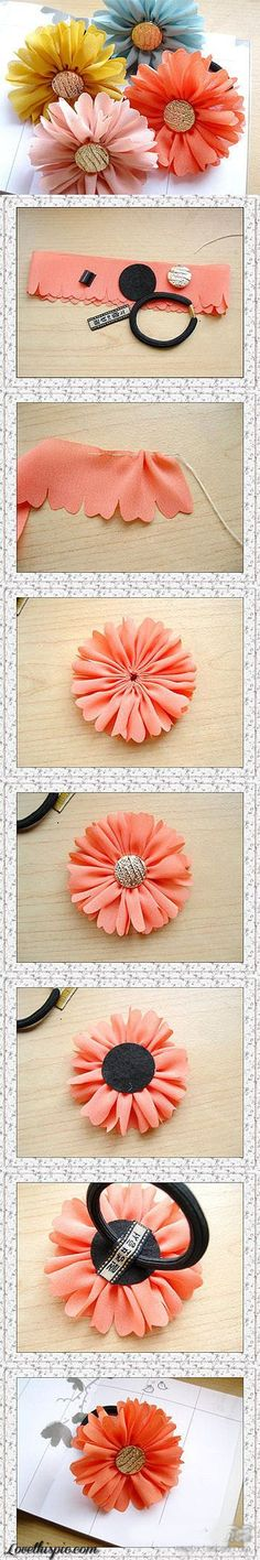 Diy and crafts Fabric Crafts - Gerbera Blume Gerbera gelb Felt Flowers, Diy Flowers, Fabric Flowers, Flowers Garden, Pretty Flowers, Nice Flower, Organza Flowers, Cloth Flowers, Button Flowers