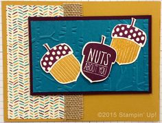 Stampin' Up! Cards - Acorny Thank You stamp set, Acorn Builder Punch, Woodland Embossing Folder