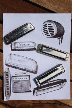 Mundo de la armónica, mi mundo. #Dibujo boli bic. Mic vintage - amplificador - harmonica #armónicas