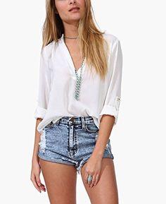 Women Shirts and Blouses V Neck Loose Fitting Chiffon Fashionable Tops from Koobea Small White koobea http://www.amazon.com/dp/B01BV4VGSI/ref=cm_sw_r_pi_dp_jFdXwb119JAQS
