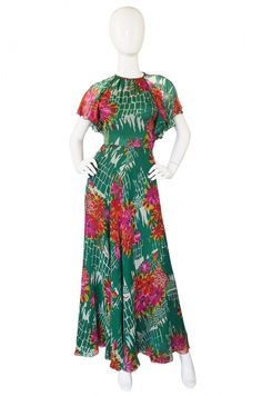 1970s Backless Scott Barrie Printed Silk Chiffon Dress