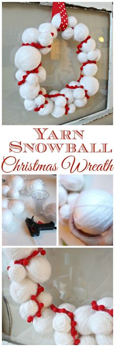 How to make a cheery red and white Yarn Snowball Christmas Wreath at The Happy Housie