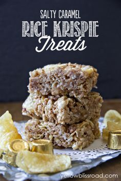Salted Caramel Loaded Rice Krispie Treats - a few unexpected ingredients make these treats especially delicious!