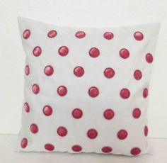 Polka dot retro cushion-velvet pink polka dots on by Tatvakala