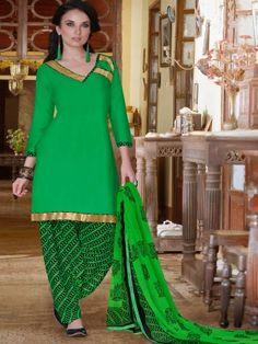 Green Cotton Lovely Patiala Salwar Kameez