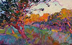 Dramatic oil painting of saturated light, inspired by Paso Robles landscapes, by Erin Hanson