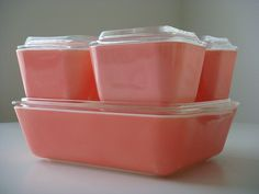 Pink Pyrex Refrigerator Dishes.