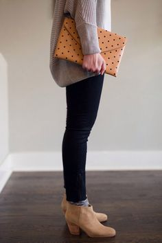 ❤️ Err'thang!! Ankle boots, patterned socks, dark jeans, polkadot clutch, oversized sweater