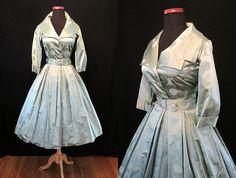 Klassische 50er Seidenhemd Kleid mit Brokat und von wearitagain