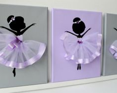 Dancing Ballerinas Wall Decor. Nursery wall art in lavender, purple and grey.