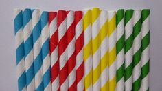 25 Thomas the Train Mixed- Yellow Red Blue Green Striped Paper Straws-Thomas the Train Birthday Party- Super Hero Decorations by HeathersBlankets on Etsy https://www.etsy.com/listing/128213653/25-thomas-the-train-mixed-yellow-red