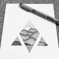 ☀️ #sunrise #mountains #landscape #natureart #ink #inkdrawing #inkfeature #inkonpaper #penwork #dotart #stipple #stippleart #thestipplingproject #pointillism #geometricworks #geometric #drawing #illustration #art #instaart #instaartist #instafineliner #fineliner #iblackwork #blackworknow #linework #linedrawing