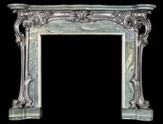 Antique English Rococo Cast Iron and Marble Fireplace Mantel