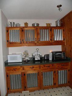 Basement and work room ideas Unique kitchen cabinets. Rustic Kitchen Island, Rustic Kitchen Design, Kitchen Designs, Metal Kitchen Cabinets, Diy Cabinets, Rustic Cabinets, Kitchen Countertops, Cuisines Diy, Cuisines Design