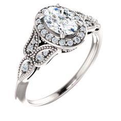 14K White 5.8mm Round 1/6 CTW Diamond Semi-set Engagement Ring