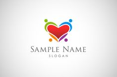 Logo for sale: Heart With People Logo