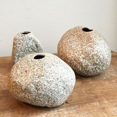 Stone shaped vases. Made in Japan.