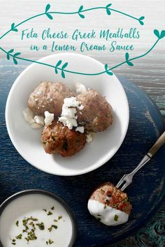 Tre Stelle® Feta Cheese Greek Meatballs in a Lemon Cream Sauce Lemon Cream Sauces, Lemon Sauce, Meatloaf Burgers, Barbecue Side Dishes, Greek Meatballs, Bite Size Food, Fishcakes, Greek Recipes