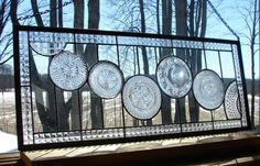 stained glass panel Clear Cascade Transom by BarbarasStainedGlass