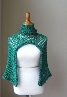 Smaragd grün CAPELET Rollkragen häkeln Poncho Knit von marianavail, $28.00