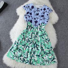 Floral print stitching dress XXA621003