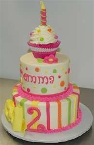 "Cute idea for a first birthday party and then use the top cupcake as the ""smashing"" cake for the little one"